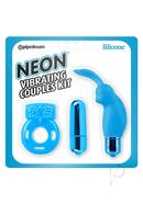 Neon Silicone Vibrating Couples (3 Piece Kit) - Blue